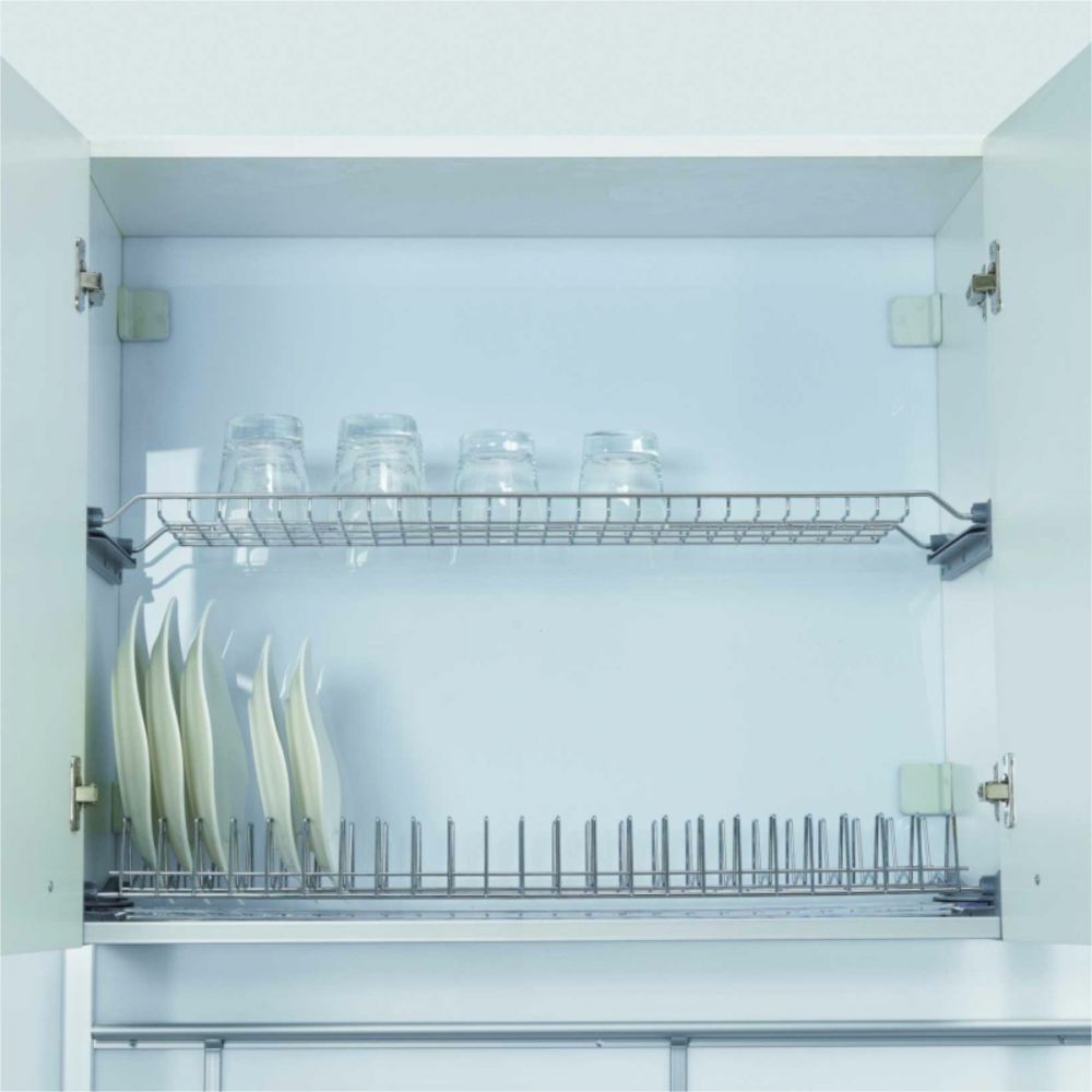 Stainless Steel Plate - Glass Shelf Set With Tray 80cm